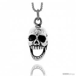 Sterling Silver Skull w/ Movable Jaw Pendant, 3/4 in tall