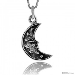 Sterling Silver Crescent Moon w/ Tiny Stars Pendant, 1 in tall