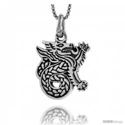 Sterling Silver Celtic Dragon Pendant, 1 in tall