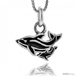Sterling Silver Double Dolphin Pendant, 3/4 in (19 mm) wide