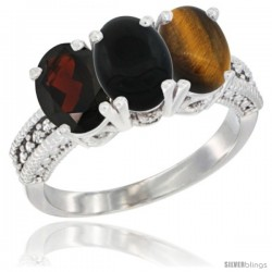14K White Gold Natural Garnet, Black Onyx & Tiger Eye Ring 3-Stone 7x5 mm Oval Diamond Accent