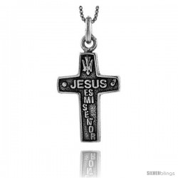 Sterling Silver JESUS es mi Senor Cross Pendant, 1 1/4 in tall