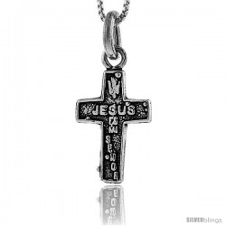 Sterling Silver JESUS es mi Senor Cross Pendant, 1 in tall