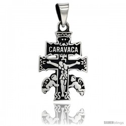 Sterling Silver Caravaca Cross Pendant, 1 in tall