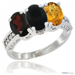14K White Gold Natural Garnet, Black Onyx & Whisky Quartz Ring 3-Stone 7x5 mm Oval Diamond Accent