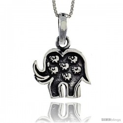 Sterling Silver Lucky 7 Elephant Pendant, 3/4 in tall