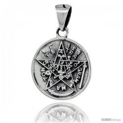 Sterling Silver Pentagram Star Pendant, 7/8 in (23 mm)