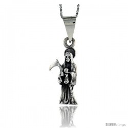 Sterling Silver Small Grim Reaper / Skull w/ Scythe Pendant, 1 1/4 in tall