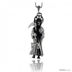 Sterling Silver Large Grim Reaper / Skull w/ Scythe Pendant, 2 5/8 in tall