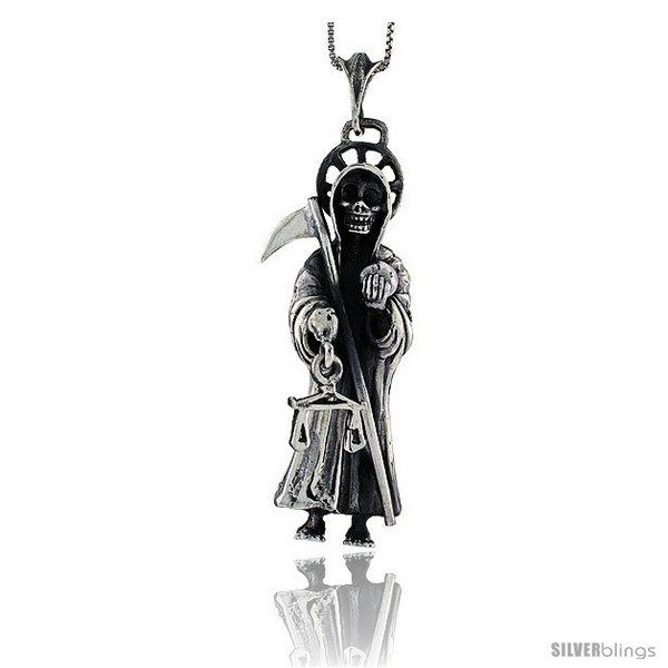 "Solid Sterling Silver Large Grim Reaper Skull with Scythe Pendant 2 5//8/"" Tall"