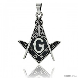 Sterling Silver Square & Compass Masonic Symbol Pendant, 49mm long
