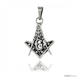 Sterling Silver Square & Compass Masonic Symbol Pendant, 21mm long