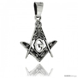 Sterling Silver Square & Compass Masonic Symbol Pendant, 28mm long