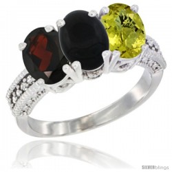 14K White Gold Natural Garnet, Black Onyx & Lemon Quartz Ring 3-Stone 7x5 mm Oval Diamond Accent