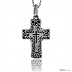 Sterling Silver Triple Cross Pendant, 1 1/4 in tall