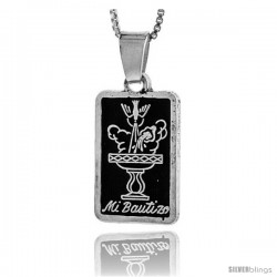 Sterling Silver Mi Bautizo (My Baptism) Pendant, 7/8 in tall