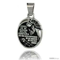 Sterling Silver Prayer to The Guardian Angel Pendant, 7/8 in tall -Style Px513