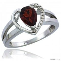 14k White Gold Ladies Natural Garnet Ring Heart-shape 5 mm Stone Diamond Accent