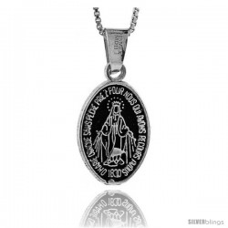 Sterling Silver Virgin Mary Pendant, 7/8 in tall