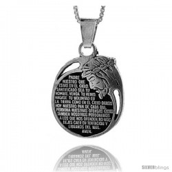 Sterling Silver Pendant with The Lord's Prayer, 1 in tall
