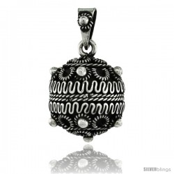 Sterling Silver Bali Style Beaded Ball Pendant, 3/4 in (20.5 mm)