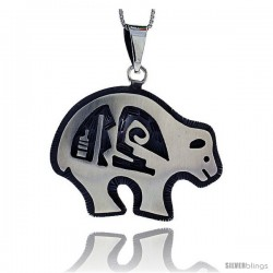 Sterling Silver Bear Pendant, 1 3/8 in tall