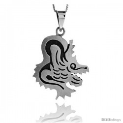 Sterling Silver Coyote Pendant, 1 1/2 in tall