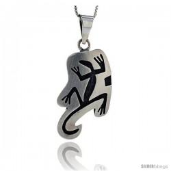 Sterling Silver Gecko Pendant, 1 1/2 in tall -Style Pxj407