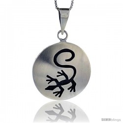 Sterling Silver Gecko Pendant, 1 in (25 mm) wide
