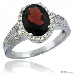 14k White Gold Ladies Natural Garnet Ring oval 10x8 Stone Diamond Accent