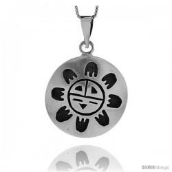Sterling Silver Sun Pendant, 1 1/4 in (30 mm) wide