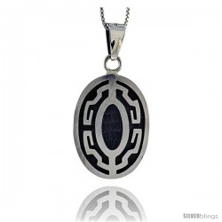 Sterling Silver Greek Key Pendant, 1 1/4 in tall