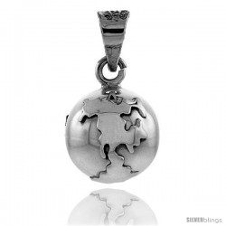 Sterling Silver Globe Harmony Ball Pendant, 3/4 in with snake chain.