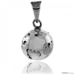Sterling Silver Globe Harmony Ball Pendant, 7/8 in with snake chain.