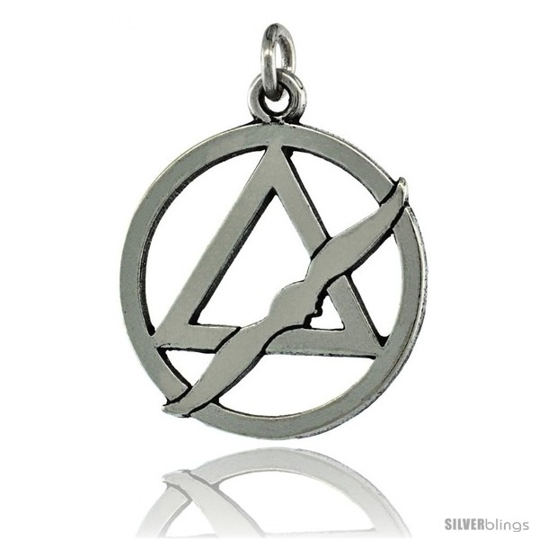 Sterling Silver Sobriety Symbol Recovery Pendant 1 18 In 28 Mm