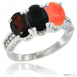 14K White Gold Natural Garnet, Black Onyx & Coral Ring 3-Stone 7x5 mm Oval Diamond Accent