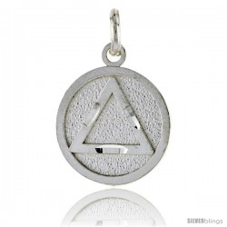 Sterling Silver Sobriety Symbol Recovery Pendant, 3/4 in. (19 mm) tall