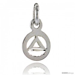 Sterling Silver Sobriety Symbol Recovery Pendant, 1/2 in. (12 mm) tall