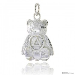 Sterling Silver Sobriety Symbol on Teddy Bear Recovery Pendant, 13/16 in. (21 mm) tall