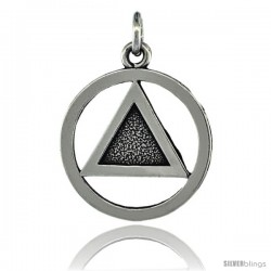 Sterling Silver Sobriety Symbol Recovery Pendant, 1 in. (25 mm) tall -Style Py5