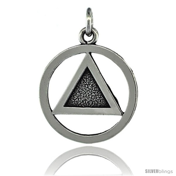 Sterling Silver Sobriety Symbol Recovery Pendant 1 In 25 Mm Tall