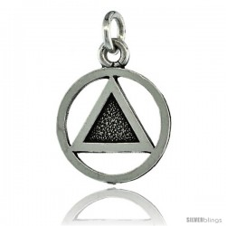 Sterling Silver Sobriety Symbol Recovery Pendant, 13/16 in. (21 mm) tall -Style Py6