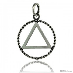 Sterling Silver Sobriety Symbol Recovery Pendant, 7/8 in. (22 mm) tall