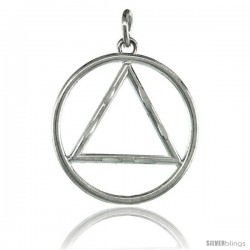 Sterling Silver Sobriety Symbol Recovery Pendant, 1 1/16 in. (27 mm) tall