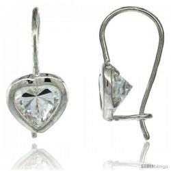 Sterling Silver 7mm Heart CZ Hook Earrings 3/4 in. (19 mm) tall