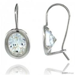 Sterling Silver 9x7mm Oval CZ Hook Earrings 13/16 in. (20 mm) tall
