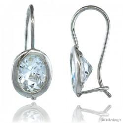 Sterling Silver 9x7mm Oval CZ Hook Earrings 13/16 in. (20 mm) tall -Style C15