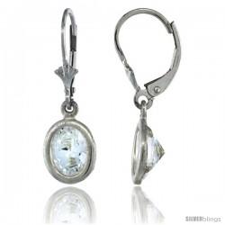 Sterling Silver 8x6mm Oval CZ Lever Back Earrings 1 1/8 in. (28 mm) tall