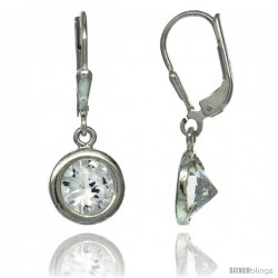 Sterling Silver 7mm Round CZ Lever Back Earrings 1 1/16 in. (27 mm) tall