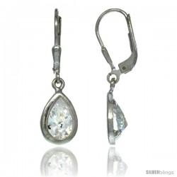 Sterling Silver 9x6mm Pear Shape CZ Teardrop Lever Back Earrings 1 1/8 in. (29 mm) tall